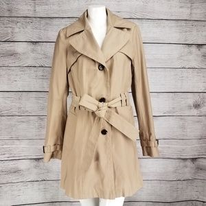 Via Spiga Pleated Trench Coat Jacket Button front
